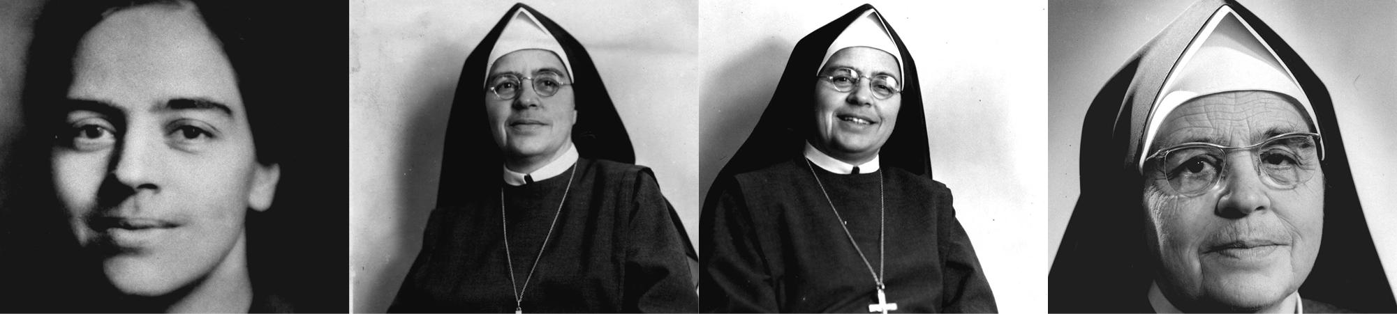 Vier Porträts von Mutter Anna Dengel, von jung bis alt