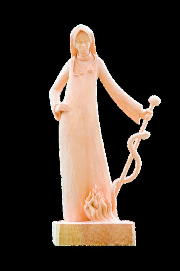Spenden - das Bild zeigt die Anna-Dengel-Holzstatue, die an großzügige Förderer und Spender überreicht wird.