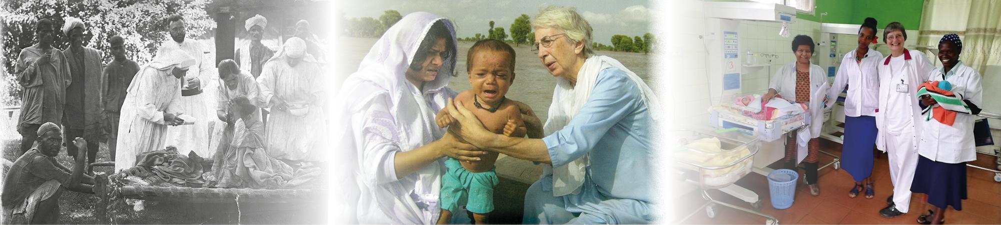 Eine Bildercollage der Arbeit der Missionsärztlichen Schwestern MMS damals und heute